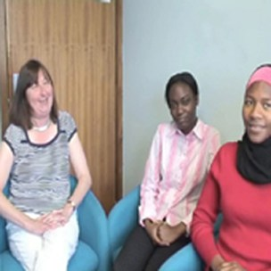 Sidney Tyrrell, Senior Lecturer in Statistics, Priscilla Appiahene and Neema Jaffary, Year 12 Students