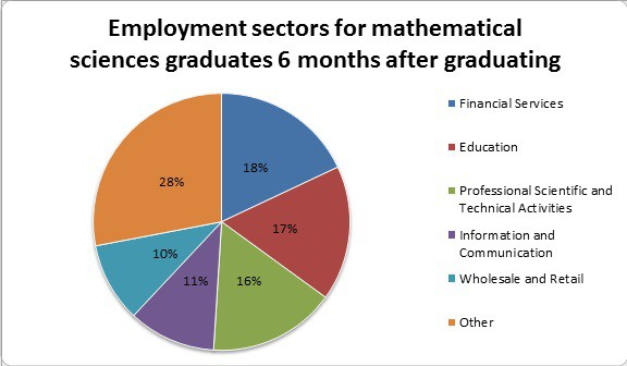Pie chart showing employment for maths graduates
